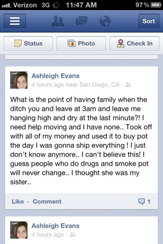 Jenelle Evans' sister Ashleigh Evans appears to accuse Jenelle of stealing money and buying pot