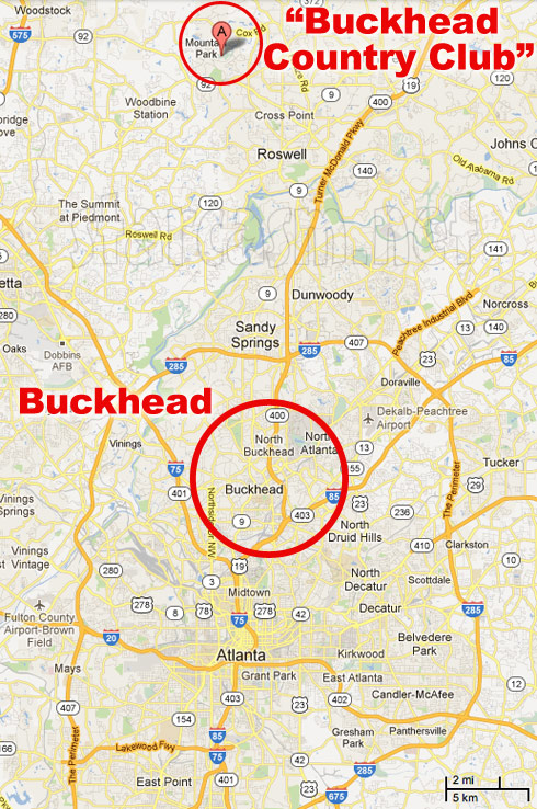 Where is the Buckhead Country Club from Big Rich Atlanta located map