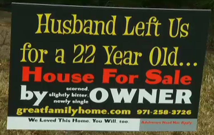 Elle Zober cheating house for sale sign