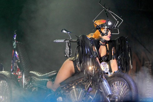 Lady Gaga on a motorcycle during the Born This Way Ball Tour