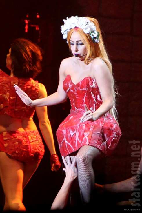Lady Gaga wears a meat dress during her Born This Way Ball Tour 2012