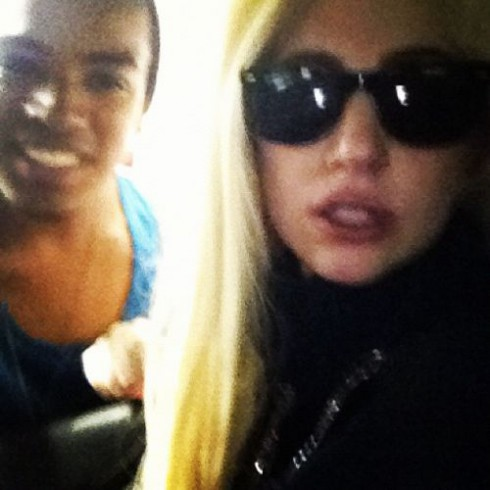 Lady Gaga plays her new single for fans in New York July 22 2012