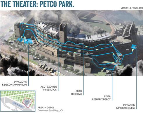 2012 San Diego Comic-Con The Walking Dead Escape map of Petco Park