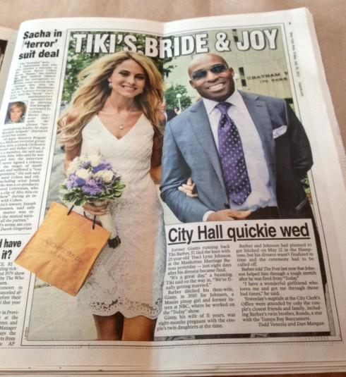 Tiki Barber and Traci Lynn Johnson wedding photo in The New York Post