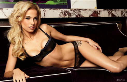 Tiki Barber's mistress and now wife Traci Lynn Johnson in lingerie in Maxim magazine