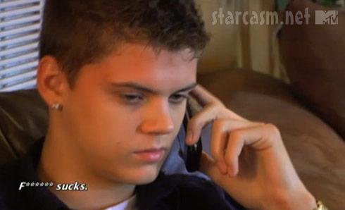 Teen Mom star Tyler Baltierra talking with Catelynn's mom April Baltierra on the phone