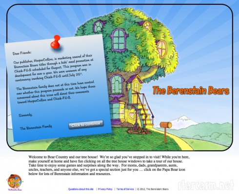 Letter from the Berenstain Bears to Chick-fil-A on their website