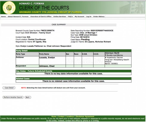 Evelyn Lozada files for divorce documents online from Broward County Clerk Chad Johnson