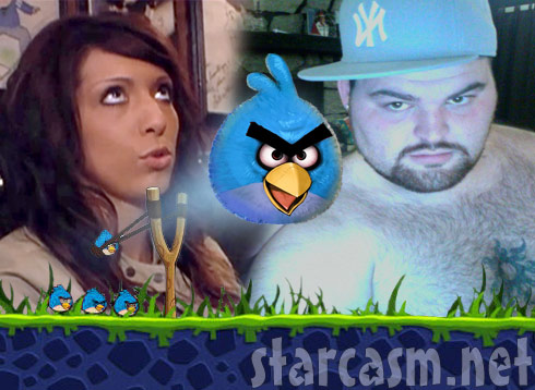 Teen Mom Farrah Abraham and Gary Shirley Twitter feud graphic with angry bird