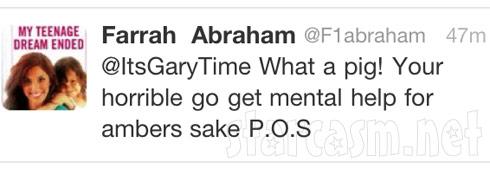 Farrah Abraham calls Gary Shirley a pig on Twitter