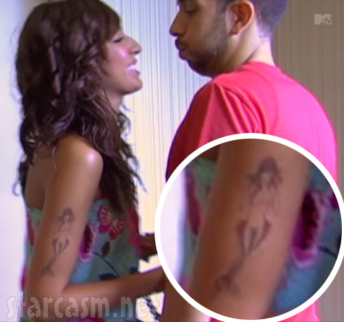 Farrah Abraham tattoo on her arm of a mermaid