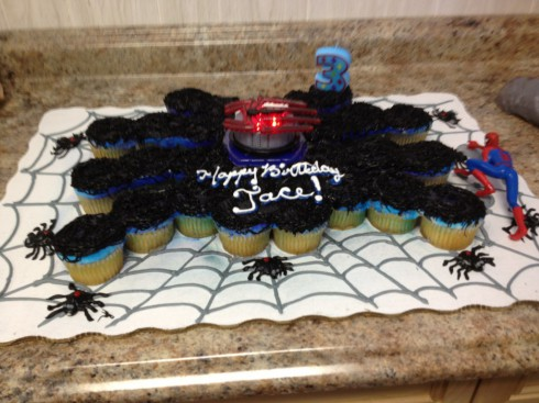 Jace Evans' Spider-Man birthday cake made out of cupcakes