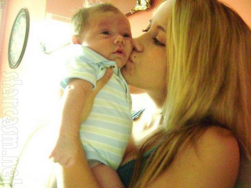 Jenelle Evans and son Jace Evans when he was an infant