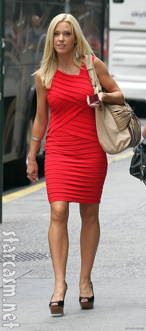 Kate Gosselin in skin-tight red bandage dress just after her dating reality show announced