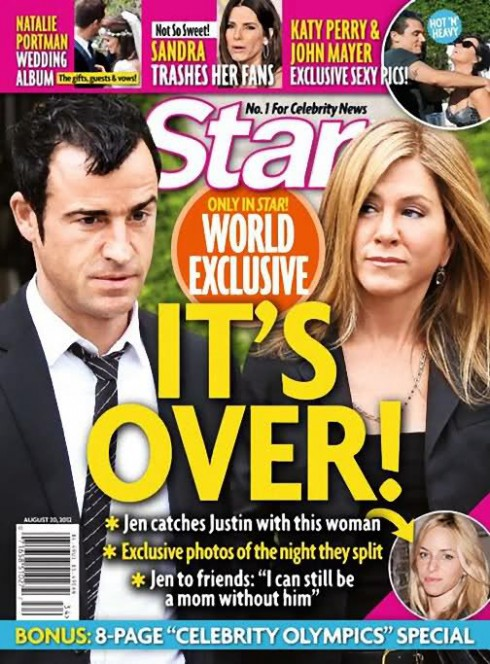 "Star Magazine cover Jennifer Aniston and Justin Theroux break up ""It's Over!"""