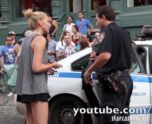 Stephanie Pratt talks to police after her boyfriend Julien Chabbott  was arrested