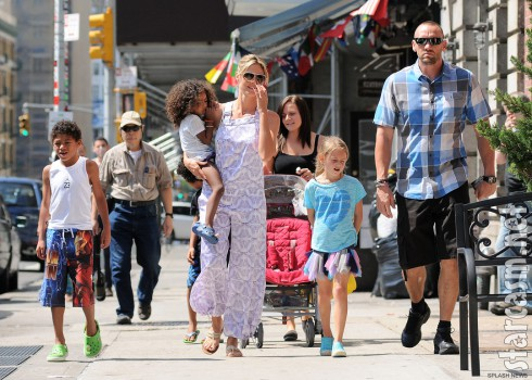 Heidi Klum and Martin Kirstin out in New York City with Heidi's children