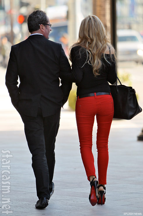 Alexis Bellino's ass in tight red jeans