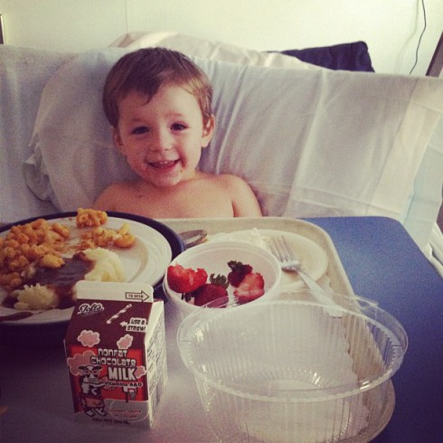 Nikkole Paulun's son Lyle gets ready to eat while in the hospital