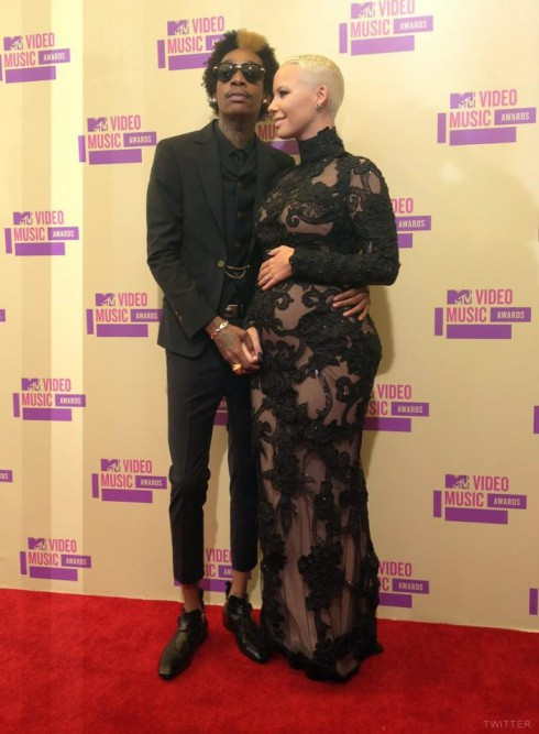 Wiz Khalifa and pregnant Amber Rose at the 2012 MTV Video Music Awards