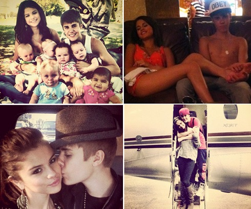 Selena Gomez and Justin Bieber Twitter photo collage