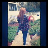 Maci Bookout carrying Bentley on his fourth birthday