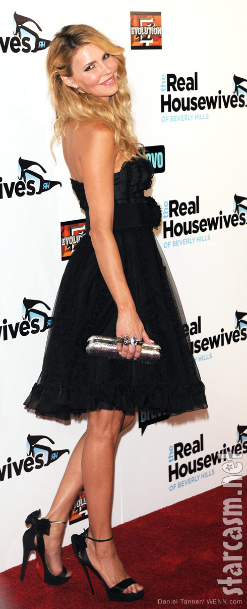 Brandi Glanville in a flirty little black dress RHOBH Season 3 Premiere
