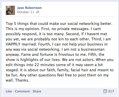 Jase Robertson Duck Dynasty set up Willie Robertson