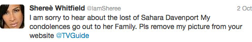 Sheree Whitfield tweets about TV Guide mistaking her for deceased drag queen Sahara Davenport