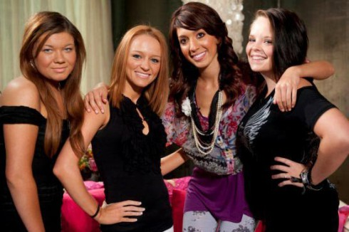 Original Teen Mom cast photo with Amber Portwood, Maci Bookout, Farrah Abraham and Catelynn Lowell