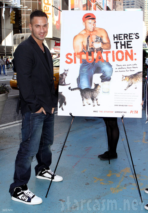The Situation promotes PETA campaign in TIMES Square New York City