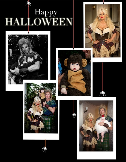 Jessica Simpson's family Halloween card with Eric Johnson and Maxwell