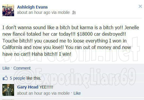 Ashleigh Evans posts on Facebook about Courtland Rogers totalling fiance Jenelle Evans' car