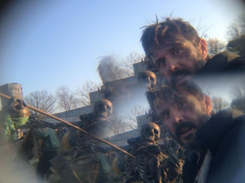 Photo of David Arquette shooting the post-apocalyptic film Orion in Detroit