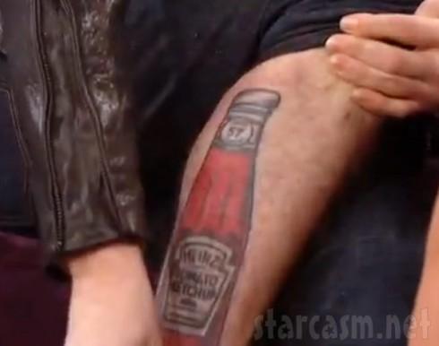 Twilight's Jackson Rathbone's Heinz Ketchup tattoo on his leg