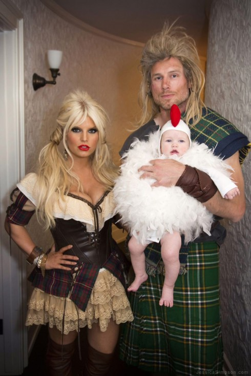Jessica Simpson Eric Johnson and daughter Maxwell in Halloween costumes