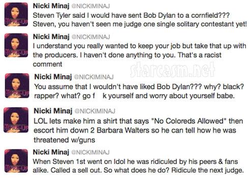 Nicki Minaj offended by Steven Tyler because of Bob Dylan comment