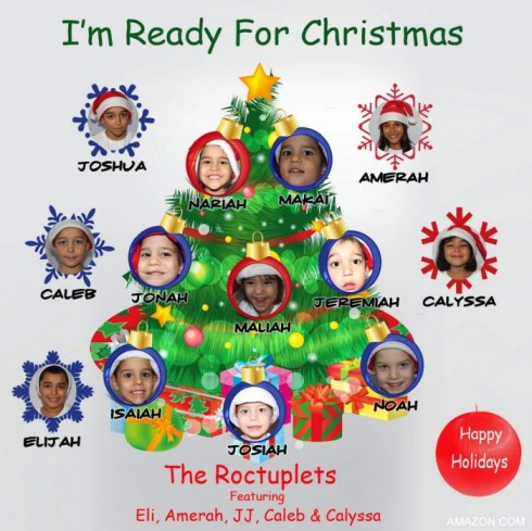 "Nadya Suleman's children Roctuplets cover art for I'm Ready For Christmas"" single"