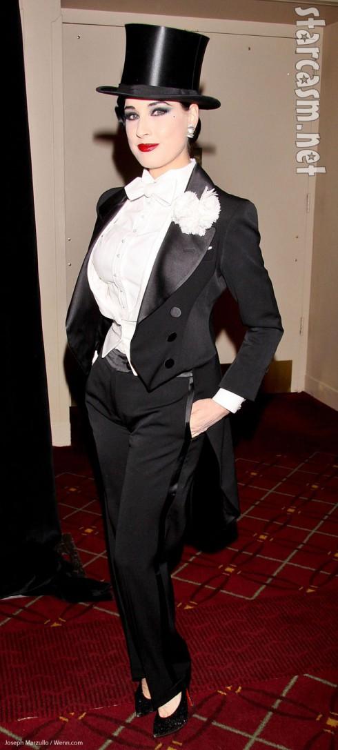Dita Von Teese dressed in tux Halloween