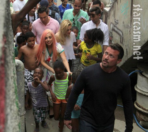 Lady Gaga plays with children in Rio's slums