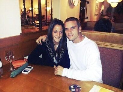 Courtland Roger and Jenelle Evans at the Olive Garden following their courthouse wedding