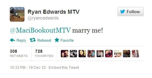 Ryan Edwards' proposal to Maci Bookout on Twitter