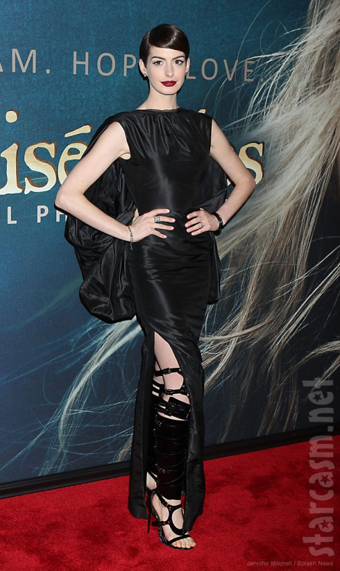 Anne Hathaway Les Miserables premiere in racy Tom Ford dress and matching bondage shoes
