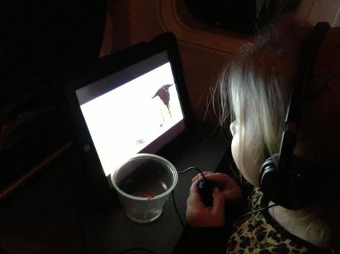 Chelsea Houska's daughter Aubree watching a movie