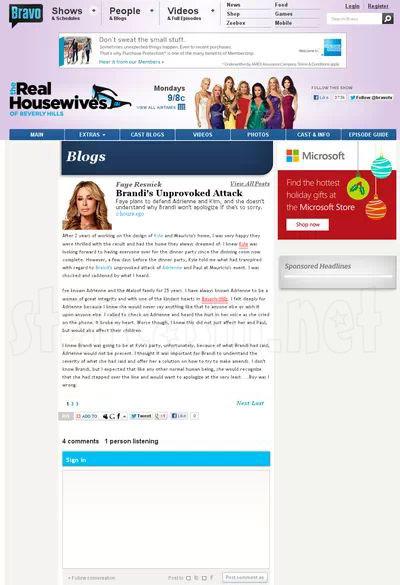Faye Resnik's deleted Bravo blog about Brandi Glanville