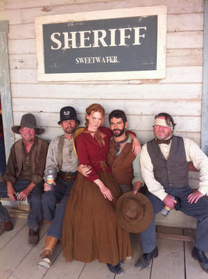 The cast of Sweetwater in costume including January Jones