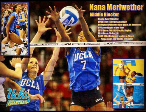 2012 Miss USA Nana Meriwether playing volleyball for UCLA
