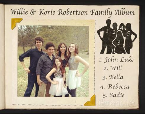 Duck Dynasty Willie and Korie Robertson's children John Luke Will Rebecca Sadie and Bella
