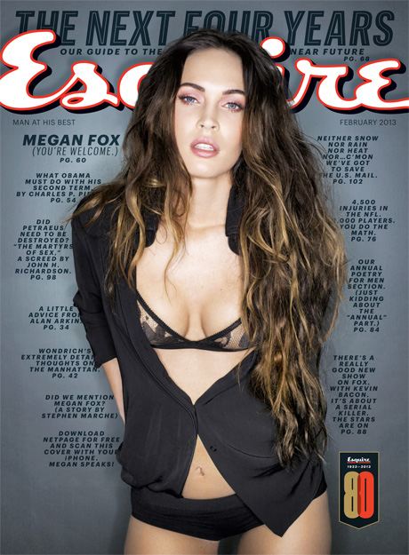 Megan Fox on the cover of Esquire February 2013