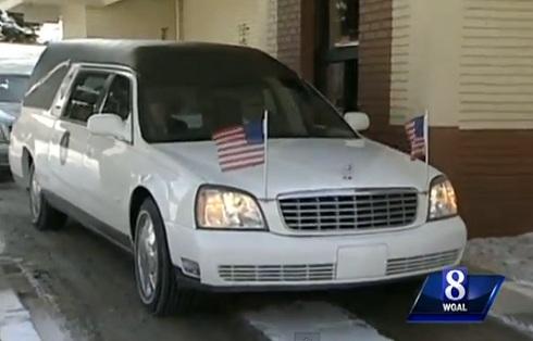 David Kime's funeral procession goes through a Burger King drive-thru